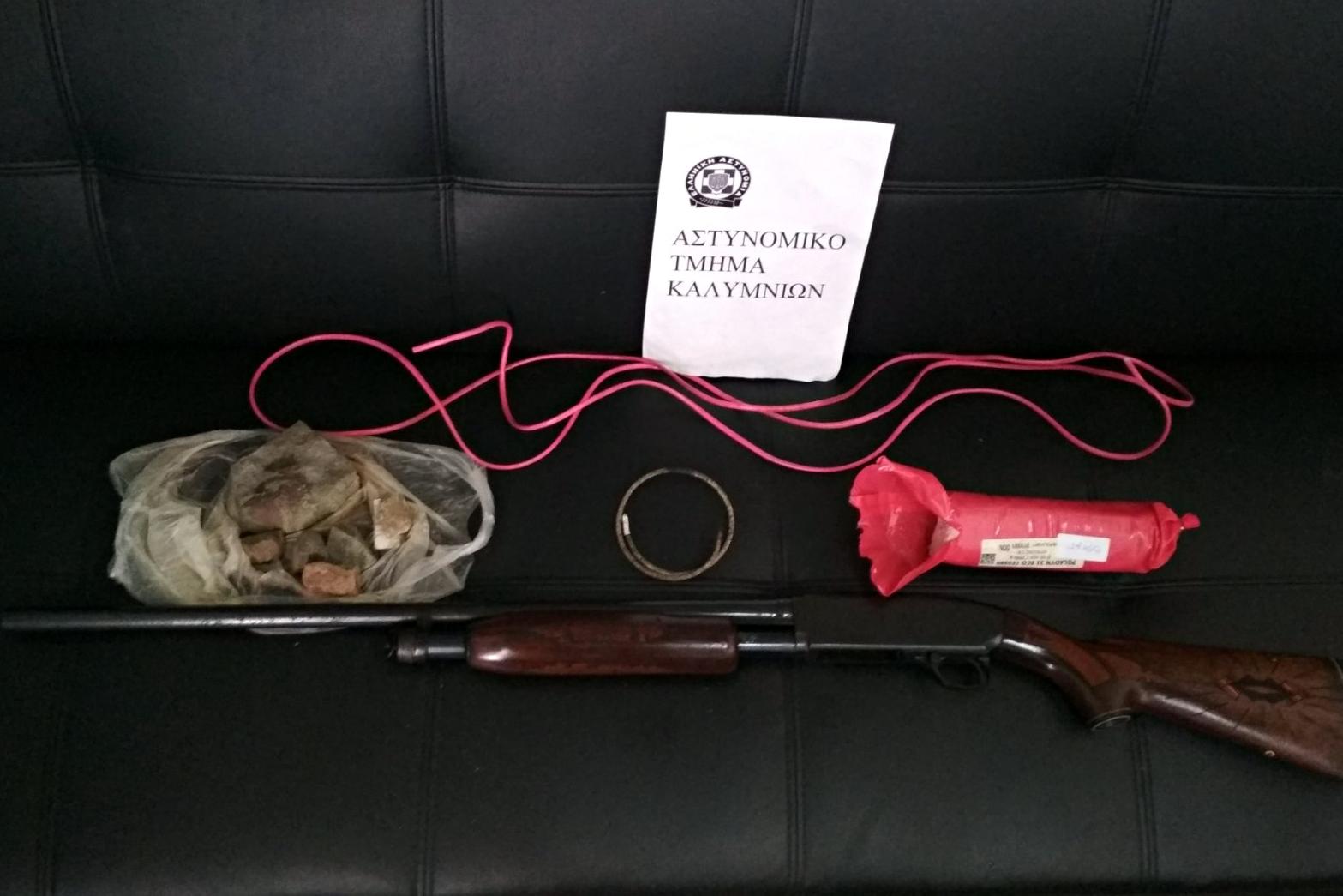 Συνελήφθη 55χρονος ημεδαπός για παράνομη κατοχή εκρηκτικών και όπλου στην Κάλυμνο